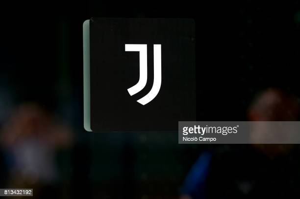 The new Juventus FC logo is seen at Allianz Stadium