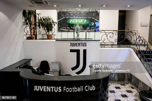 The new Juventus FC logo is seen at the main entrance inside Juventus FC headquarters on July 3 2017 Turin Italy