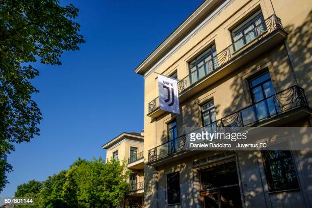 The new Juventus FC logo is seen on a flag outside Juventus FC headquarters on July 3 2017 Turin Italy