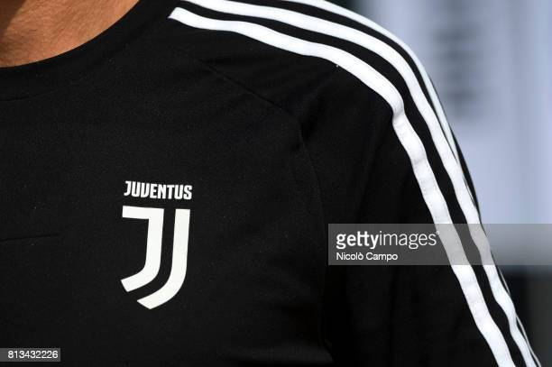 The new Juventus FC logo is seen on a shirt of a supporter