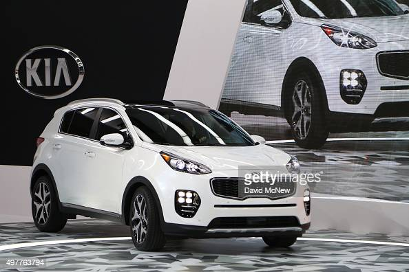 The new Kia Sportage is presented at the 2015 Los Angeles Auto Show on November 18 2015 in Los Angeles California The LA Auto Show was founded in...
