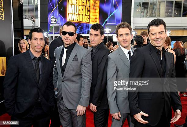 The New Kids On The Block arrive at the 2008 American Music Awards held at Nokia Theatre LA LIVE on November 23 2008 in Los Angeles California