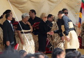 The new King Tupou VI greets the Australian Goveror General Ms Quentin Bryce during the State Funeral held for King George Tupou V at Mala'ekula on...