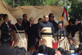 The new King Tupou VI looks on during the State Funeral held for King George Tupou V at Mala'ekula on March 27 2012 in Nuku'alofa Tonga King George...