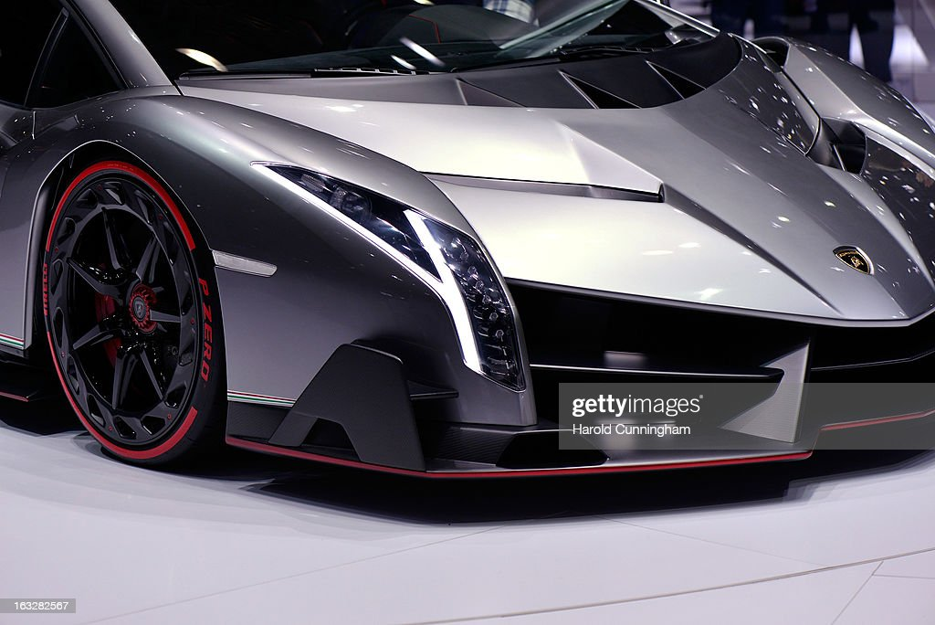 The new Lamborghini Venenos is seen during the 83rd Geneva Motor Show on March 6, 2013 in Geneva, Switzerland. Held annually with more than 130 product premiers from the auto industry unveiled this year, the Geneva Motor Show is one of the world's five most important auto shows.