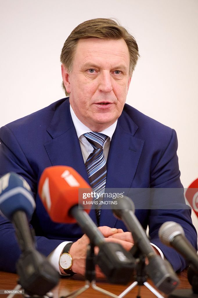 The new Latvian Prime Minister Maris Kucinskis gives a press conference after his election at the Parliament of Latvia in Riga on February 11, 2016. / AFP / afp / Ilmars Znotins