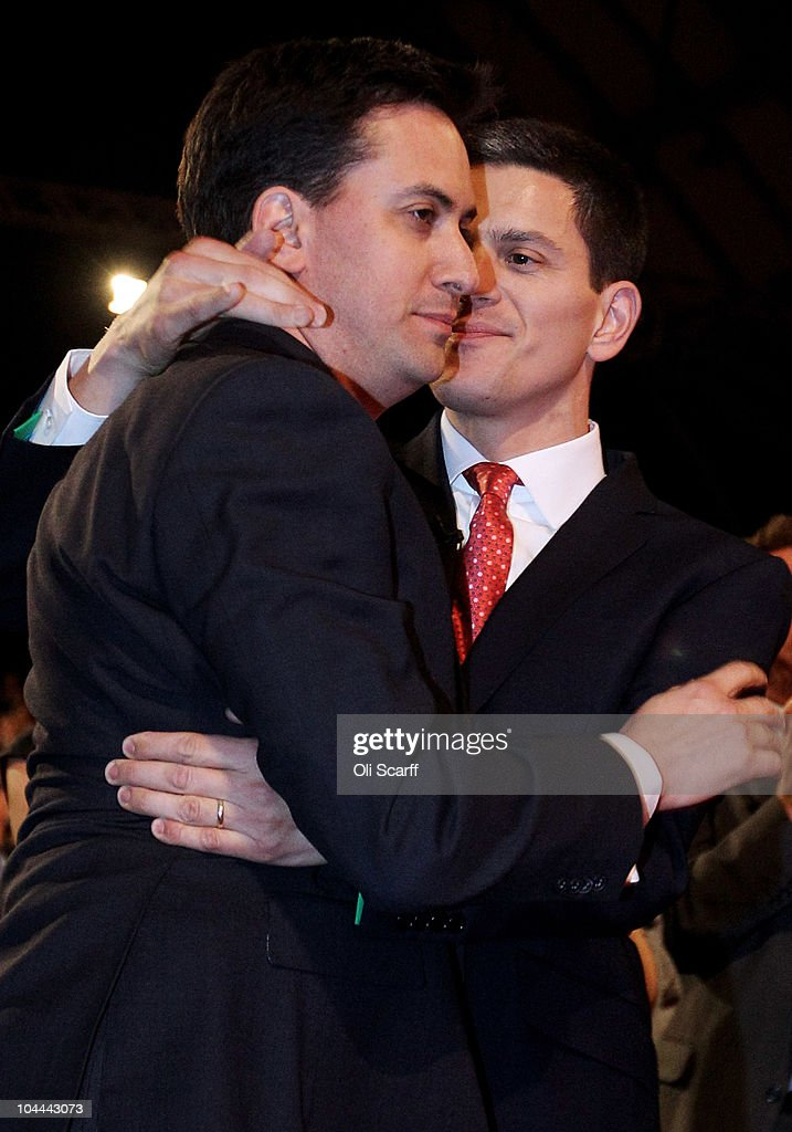 The new leader of the Labour Party <a gi-track='captionPersonalityLinkClicked' href=/galleries/search?phrase=Ed+Miliband&family=editorial&specificpeople=4376337 ng-click='$event.stopPropagation()'>Ed Miliband</a> (L) embraces his brother David after Ed was voted the new leader of the labour party at the annual Labour Party Conference on September 25, 2010 in Manchester, England. <a gi-track='captionPersonalityLinkClicked' href=/galleries/search?phrase=David+Miliband&family=editorial&specificpeople=206702 ng-click='$event.stopPropagation()'>David Miliband</a>, <a gi-track='captionPersonalityLinkClicked' href=/galleries/search?phrase=Ed+Miliband&family=editorial&specificpeople=4376337 ng-click='$event.stopPropagation()'>Ed Miliband</a>, Ed Balls, Diane Abbott and Andy Burnham all fought for the leadership of Labour when Gordon Brown stepped down after the general election defeat.