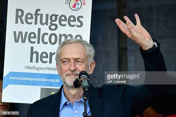 The new leader of the Labour Party Jeremy Corbyn addresses the Amnesty UK Front 'Solidarity With Refugees' demonstration on September 12 2015 in...