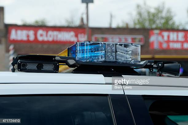 The new license plate readers on the top of a squad car Thursday April 30 2015 at Colfax and Perry in Denver Colorado Denver Police Department have...
