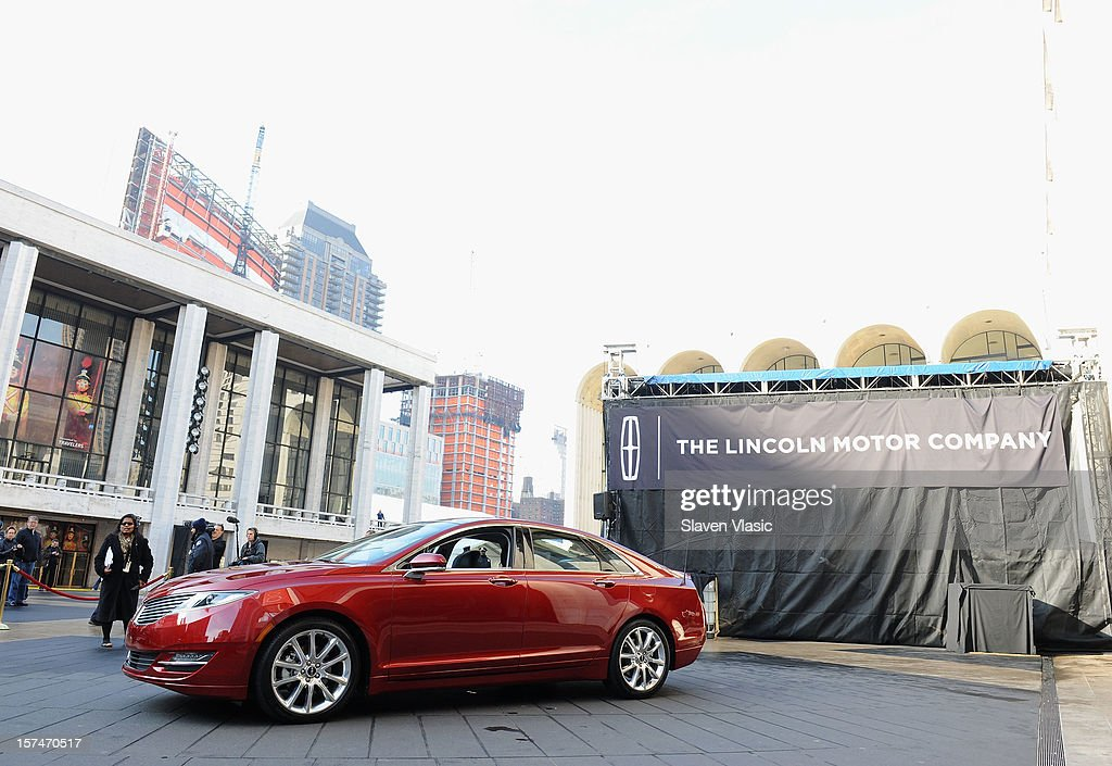The new Lincoln Motor Company MKZ sedan is seen at a media launch in front of Avery Fisher Hall, Lincoln Center Plaza on December 3, 2012 in New York City. Ford is renaming its Lincoln division as the Lincoln Motor Co., as it looks to revive the luxury brand. The MKZ will arrive at dealerships later this month and will start at $35,925. The MKZ is the first of seven new Lincoln's that will go on sale by 2015, on December 3, 2012 in New York City.