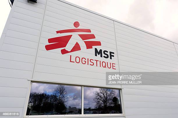 The new logistics platform and the group's logo of Medical aid group Doctors Without Borders are seen in Merignac near Bordeaux' airport on March 13...