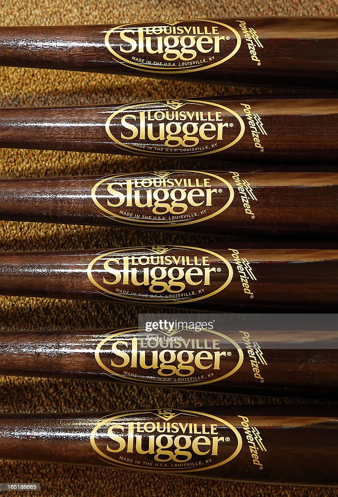 The new logo for the Louisville Slugger bat is on display on bats inside the Louisville Slugger Museum and Plant on April 1, 2013 in Louisville, Kentucky.