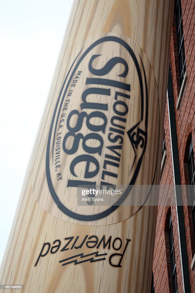The new logo for the Louisville Slugger bat is on display on the large bat outside the Louisville Slugger Museum and Plant on April 1, 2013 in Louisville, Kentucky.