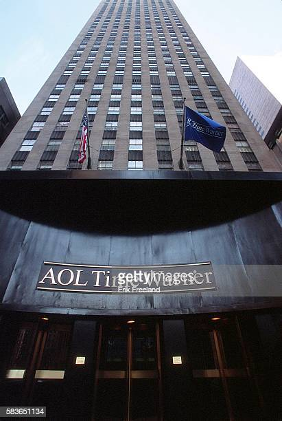 The new logo on AOL Time Warner office building on 51st Street in New York City reflects the finalization of their merger Photo by Erik...