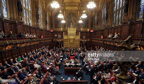 The new Lord Speaker Lord Norman Fowler speaks in the House of Lords chamber during his first sitting in Parliament on September 5 2016 in London...