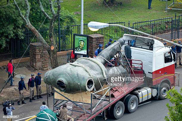 The new Madiba statue on its way to the Union Buildings on December 11 2013 in Pretoria South Africa Former South African president Nelson Mandela...