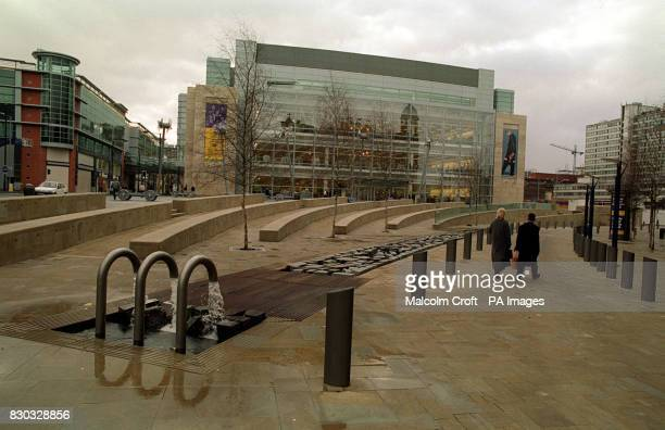 The new Marks Spencer department store in the Arndale Centre Manchester rebuilt since the IRA bomb blast of 1996 destroyed a large part of the city...