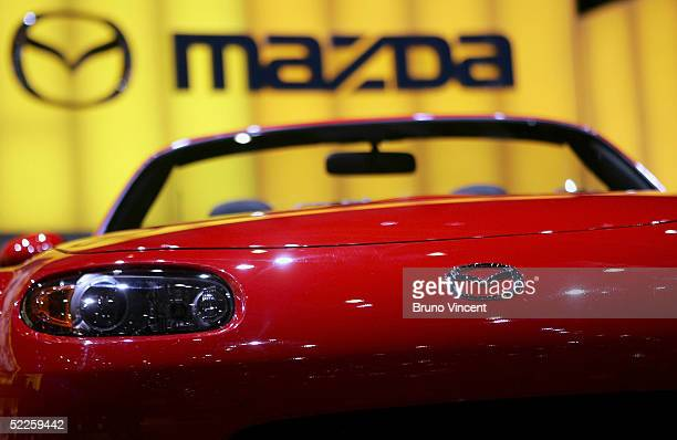 The new Mazda MX5 is seen at the 75th International Geneva Motorshow March 1 2005 in Geneva Switzerland The Motorshow will open to the public on...
