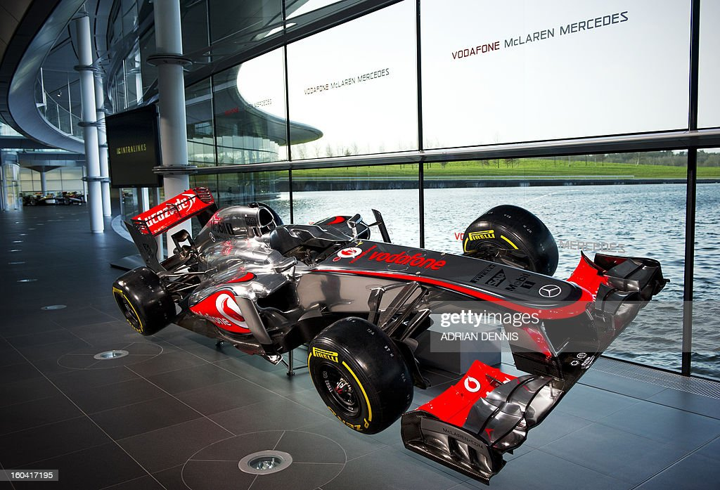 The new McLaren Mercedes MP4-28 F1 racing car for the 2013 season is unveiled during a press launch at the McLaren Technology Centre in Woking, southern England, on January 31, 2013. Mexican driver Sergio Checo Perez joins Britain's Jenson Button for the 2013 season following the departure of Britain's Lewis Hamilton.