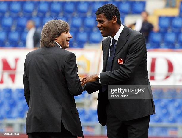 The new members of the AS Roma Hall of Fame Bruno Conti and Aldair speak during a ceremony before the Serie A match between AS Roma and Atalanta BC...