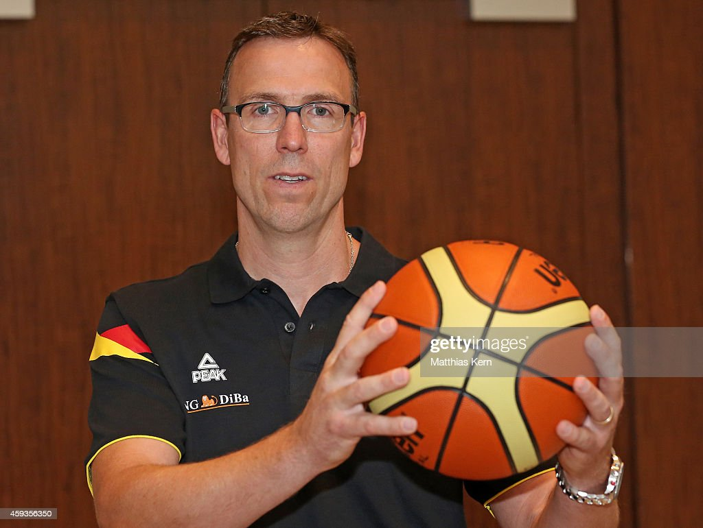 The new men's team head coach <a gi-track='captionPersonalityLinkClicked' href=/galleries/search?phrase=Chris+Fleming&family=editorial&specificpeople=730495 ng-click='$event.stopPropagation()'>Chris Fleming</a> of the German Basketball Federation (DBB) poses after a press conference at Grand Hotel Esplanade on November 21, 2014 in Berlin, Germany.