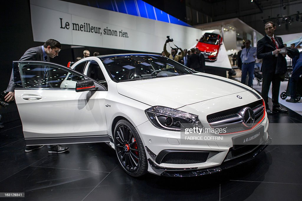 The new Mercedes Benz A 45 AMG edition is displayed in World Premiere at the German car maker's booth during the 83rd Geneva Motor Show on March 5, 2013 in Geneva. The Geneva International Motor Show opened its doors to the press under a dark cloud, with no sign of a speedy rebound in sight for the troubled European market. The event, which is considered one of the most important car shows of the year, will again be heavily marked by the crisis in Europe after an already catastrophic year in 2012.
