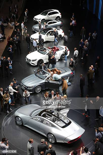 The new Mercedes cars at the Mercedes stand at the 2015 IAA Frankfurt Auto Show during a press day on September 16 2015 in Frankfurt Germany The IAA...