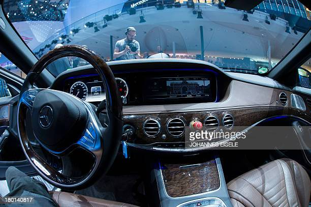 The new Mercedes S500 intelligent drive car is displayed at the Mercedes booth during the IAA international automobile show in Frankfurt am Main...