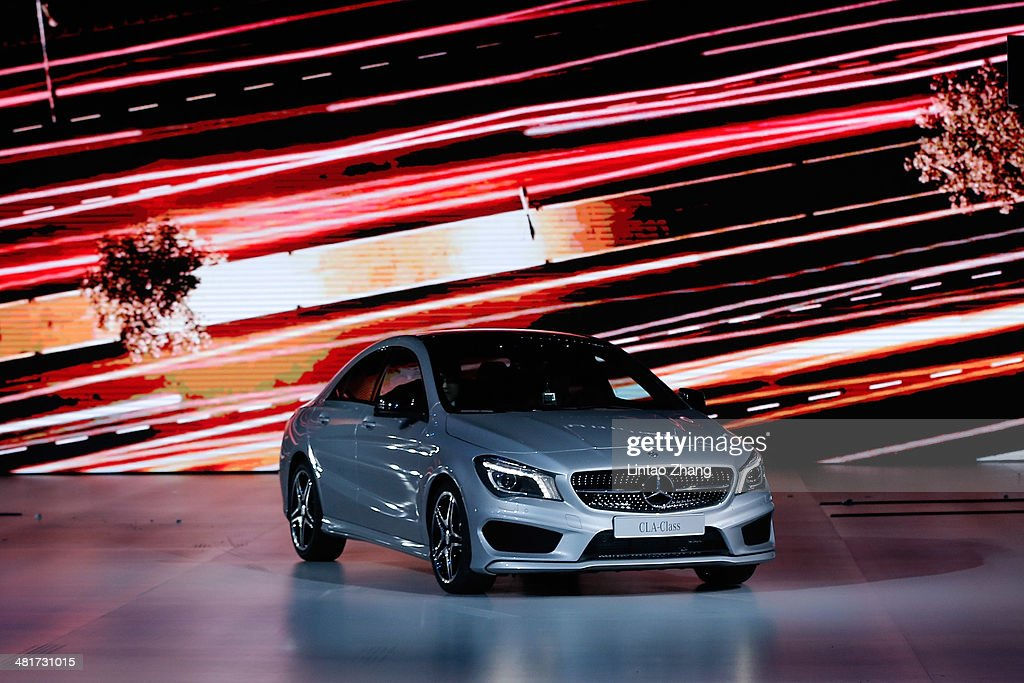 The new MercedesBenz CLA displayed during the MercedesBenz China Fashion Week Autumn/Winter 2014/2015 at the 751DPARK Tank Zone on March 31 2014 in...