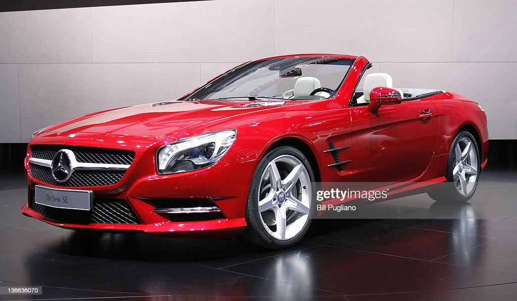 The new MercedesBenz SL is shown after it was revealed during a media preview at the 2012 North American International Auto Show January 9 2012 in...