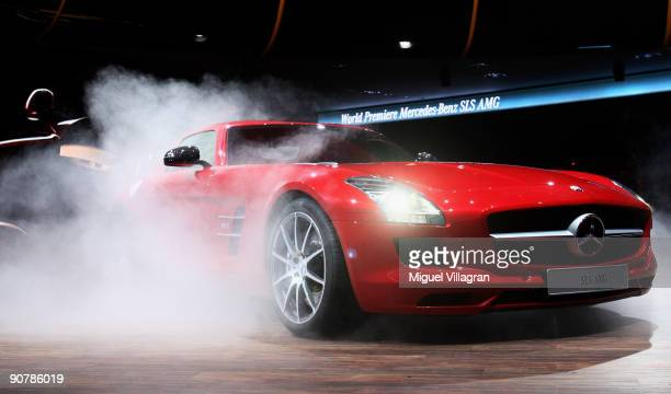 The new MercedesBenz SLS AMG is pictured at the international motor show IAA on September 15 2009 in Frankfurt am Main Germany The world's biggest...