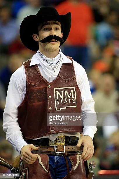 The New Mexico State Aggies mascot looks on against the Kansas Jayhawks during the second round of the 2015 NCAA Men's Basketball Tournament at the...