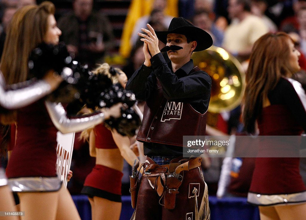 The New Mexico State Aggies mascot performs during a break in the game against the Indiana Hoosiers in the second round of the 2012 NCAA men's basketball tournament at Rose Garden Arena on March 15, 2012 in Portland, Oregon.