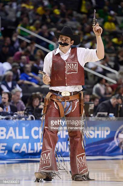 The New Mexico State Aggies mascot performs in the second half against the Saint Louis Billikens during the second round of the 2013 NCAA Men's...