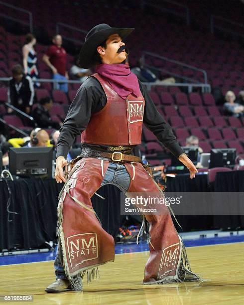 The New Mexico State Aggies mascot Pistol Pete performs during a semifinal game of the Western Athletic Conference Basketball Tournament against the...