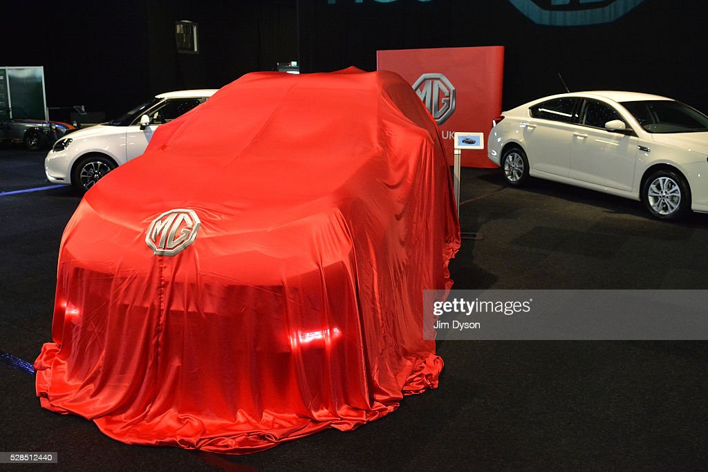 The new MG GS SUV is prepared to be unveiled during the 2016 London Motor Show at Battersea Evolution Marquee on May 5, 2016 in London, England. The show, returning for the first time in eight years, will run from 6-8 May.