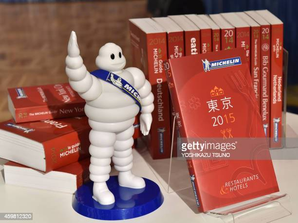 The new Michelin Guide Tokyo 2015 guidebook is displayed during the publication announcement ceremony in Tokyo on December 02 2014 Michelin guide...