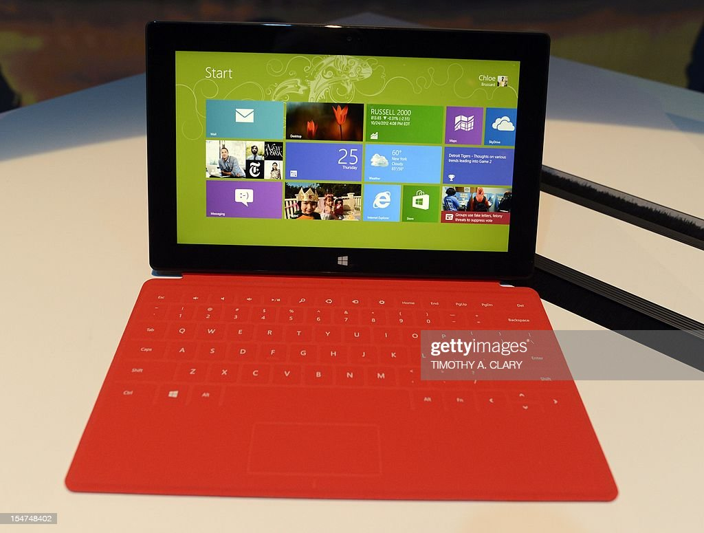 The new Microsoft Surface tablet on display following a press conference at Pier 57 to officially launch Windows 8 and the tablet in New York October...