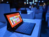 The new Microsoft Surface tablet on display following a press conference at Pier 57 to officially launch Windows 8 and the tablet in New York on...