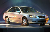 The new midsized sedan 'NF Sonata' is unveiled by Hyundai Motor Co on August 31 2004 in Seoul South Korea The new 'NF Sonata' is powered by either a...