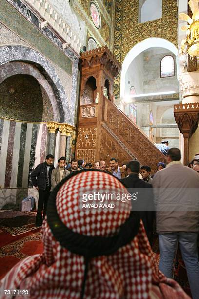 The new minbar or pulpit is put into place in the AlAqsa Mosque in annexed east Jerusalem 01 February 2007 A replica of a wooden pulpit given to...
