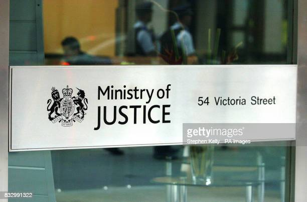 The new Ministry of Justice sign at the front entrance of Selbourne House Victoria central London