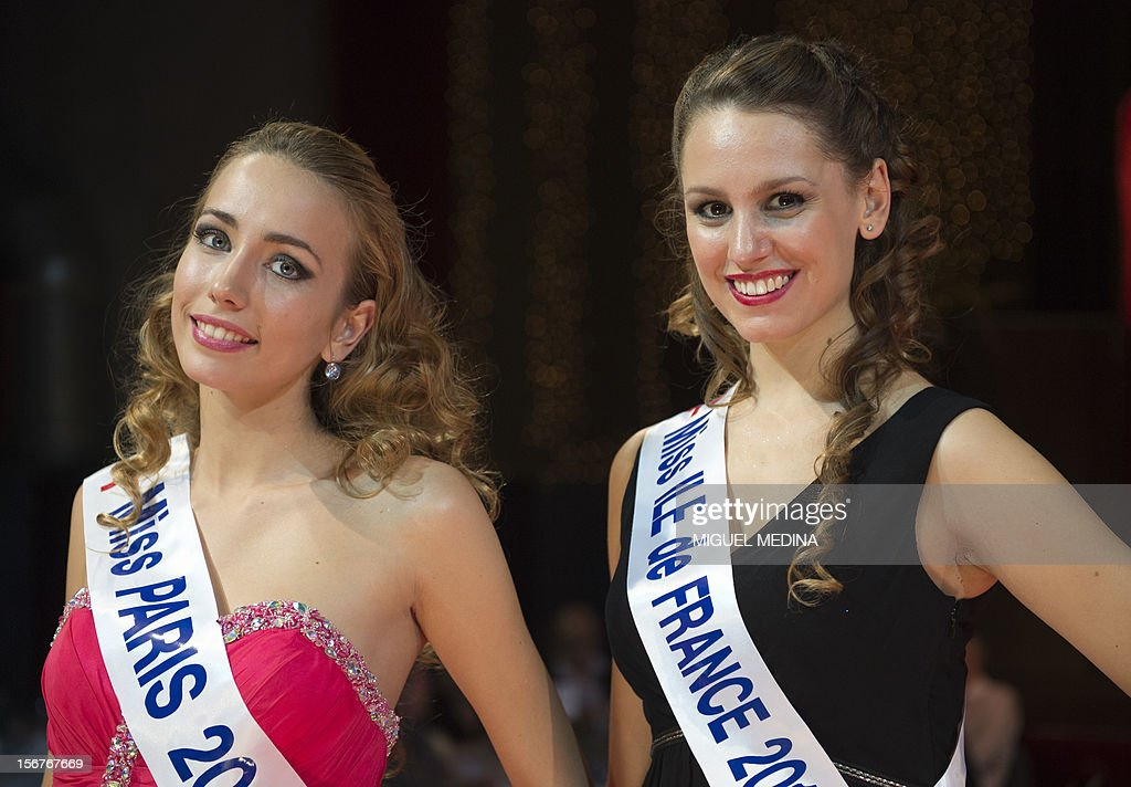 The new Miss Paris, Candice Mejane-Bourbon (L), and the new Miss Ile-de-France Marine Mamolitti pose on November 20, 2012 in the southern Paris suburb of Rungis after the 2012 Miss Ile-de-France (Greater Paris area) beauty contest.