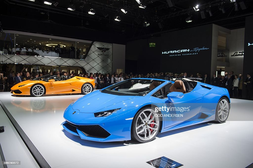 The new model Huracan is presented at the Lamborghini booth during a press day of the 66th IAA auto show in Frankfurt am Main western Germany on...