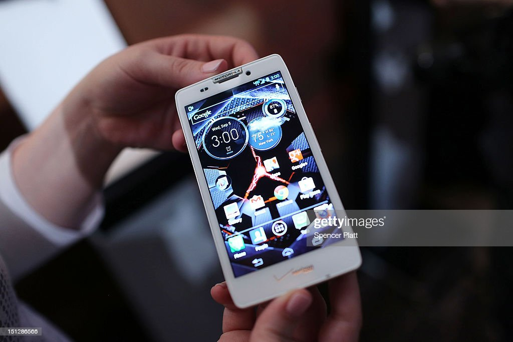 The new Motorola Razr HD smartphone is displayed at the launch of three new smartphones under the Razr brand that will become available for Verizon customers on September 5, 2012 in New York City. The new phones, the Droid Razr HD, the Razr M and the Razr Maxx HD, will all use Google's Android operating system. Motorola Mobility was acquired by google in August of 2011.