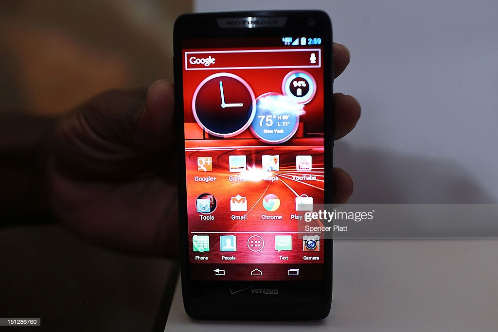 The new Motorola Razr M smartphone is displayed at the launch of three new smartphones under the Razr brand that will become available for Verizon customers on September 5, 2012 in New York City. The new phones, the Droid Razr HD, the Razr M and the Razr Maxx HD, will all use Google's Android operating system. Motorola Mobility was acquired by Google in August of 2011.