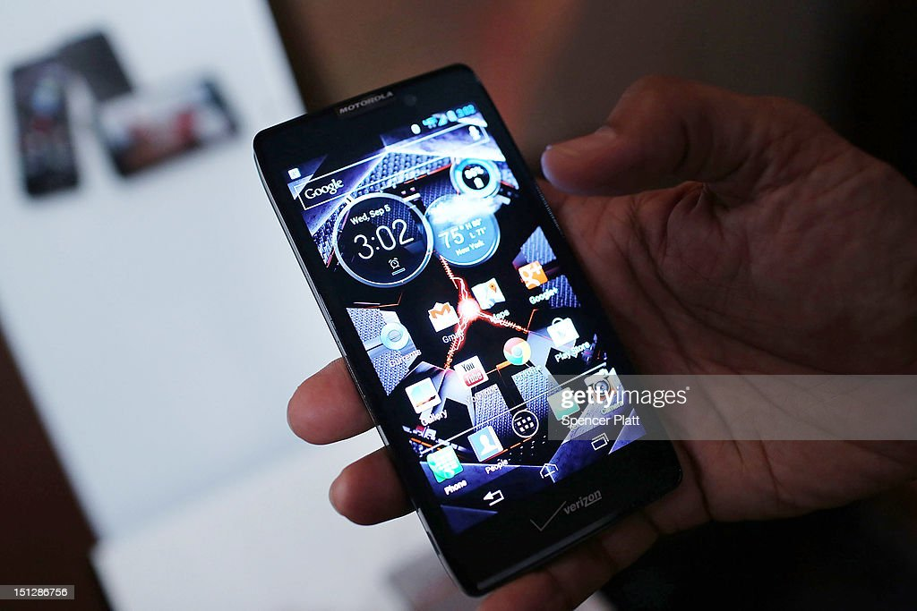 The new Motorola Razr Maxx HD smartphone is displayed at the launch of three new smartphones under the Razr brand that will become available for Verizon customers on September 5, 2012 in New York City. The new phones, the Droid Razr HD, the Razr M and the Razr Maxx HD, will all use Google's Android operating system. Motorola Mobility was acquired by Google in August of 2011.