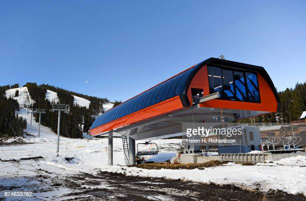 NEDERLAND CO NOVEMBER 9 The new multimillion dollar Doppelmayr 6 person high speed lift can be seen at the bottom of Eldora mountain at Eldora ski...