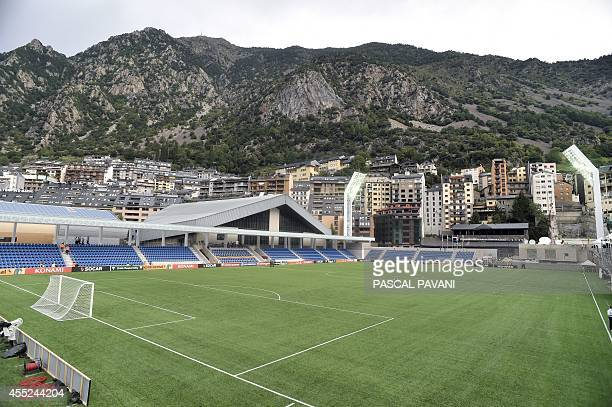 The new Municipal Stadium in Andorra during seen prior to the Euro 2016 qualifying round football match Andorra vs Wales on September 9 2014 AFP...