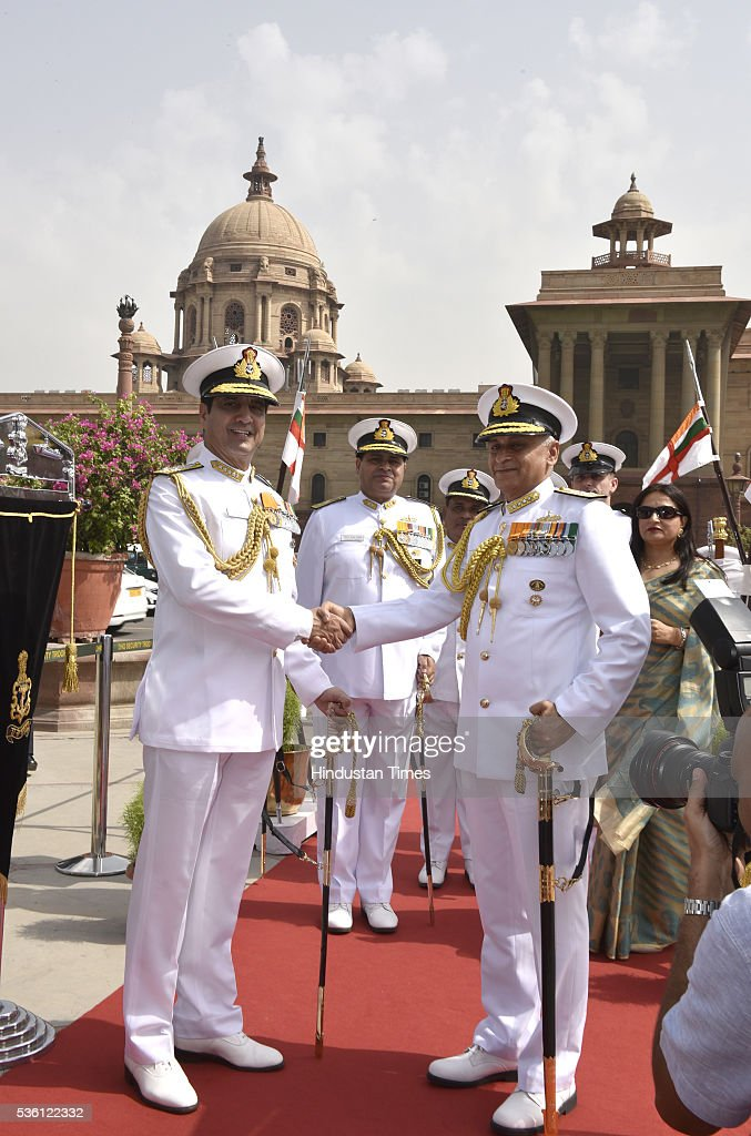The new Navy Chief Admiral Sunil Lanba (R) with his predecessor Admiral RK Dhowan as he took charge as the new Chief of Indian Naval staff at South Block on May 31, 2016 in New Delhi, India. Earlier this month the government appointed Lanba, the Flag Officer Commanding-in-Chief, Western Naval Command as the Chief of Naval Staff. Admiral Lanba, 58, is a qualified specialist in navigation and direction course and will have a full three-year-term in office till May 31, 2019.